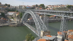 The beautiful Dom Luis arch bridge in Porto Stock Footage
