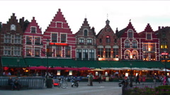 Evening scene at the Market Square of Bruges, Belgium. Stock Footage