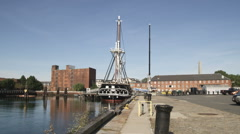 Wide shot of the Mayflower in Massachusetts. Stock Footage