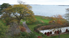 Fort Sewall on the coast of Marblehead, Massachusetts. Stock Footage