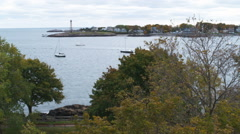 Panning shot of Marblehead Neck in Massachusetts. Stock Footage