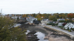 Panning shot of colorful fall foliage in Marblehead, Massachusetts. - stock footage