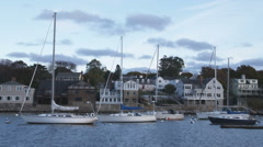 Boats moored in Rockport Harbor in Massachusetts. Stock Footage