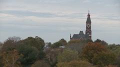 Stock Video Footage of Pan of treetops in Autumn in Massachusetts.