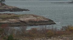 Rock Massachusetts coastline near Marblehead in Autumn. Stock Footage
