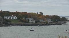 Looking across Marblehead Harbor in Massachusetts. - stock footage