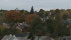 Panning shot of Autumn treetops in Marblehead. Stock Footage