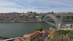 The famous Dom Luis Bridge in Porto Stock Footage