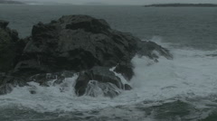 Waves crashing on a rocky outcropping in Maine. Stock Footage
