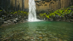 View of the Svartifoss (Black waterfall) Stock Footage