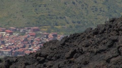 Etna, Lava flow in 1981 threatens randazzo Stock Footage