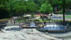 Fountains at the Heckscher Playground in Central Park in New York. Stock Footage