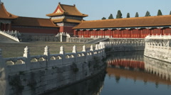Panning shot of a stream inside the Forbidden City in China. - stock footage