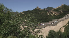 Panning shot of the Great Wall of China in the Badaling section. Stock Footage