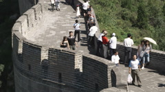 Panorama of the Great Wall of China at the Badaling section. Stock Footage