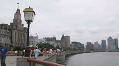 Shot of people standing at a pier in Shanghai China. Stock Footage