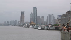 Clip of people standing at a pier in Shanghai China. Stock Footage