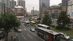 Busy traffic in downtown Shanghai China. Stock Footage
