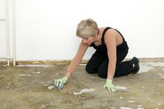 Stock Photo of House work, woman cleaning floor