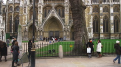 Shot of the doors of Westminster Abbey in London. Stock Footage