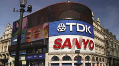 Traffic at Piccadilly Circus in London England. Stock Footage