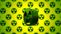 Stock Video Footage of Green Nuclear Radioactive Radiation Symbol Logo
