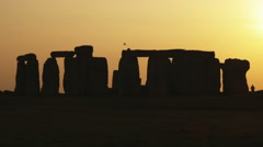 Wide shot of Stonehenge at sunset. Stock Footage