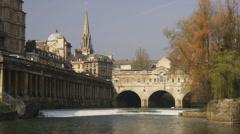 Bridge at Grand Parade Bath England. Stock Footage