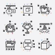 Stock Illustration of three d printer infographic