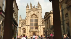 Bath Abbey seen between two pillars in England. Stock Footage