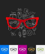 Glasses paper sticker with hand drawn elements Stock Illustration
