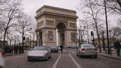 Shot of the Arc de Triomphe in Paris. Stock Footage