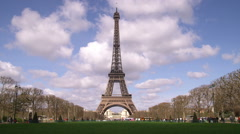 Eiffel tower with clouds in the background. Stock Footage