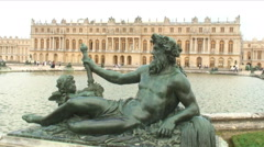 Statue at a pond in Versailles France. Stock Footage