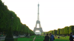 Eiffel Tower and the Champ de Mars. Stock Footage