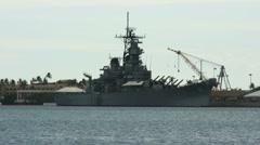 Large warship at Pearl Harbor Hawaii. Stock Footage