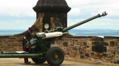 One O'Clock Gun preparing to be fired at Edinburgh Castle. Stock Footage