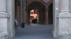 Alleyway between old buildings in Bologna Italy. - stock footage