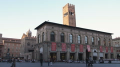 Plaza at sunset in Bologna Italy. Stock Footage