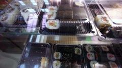 Sushi in fresh market Stock Footage