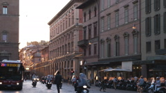 Old city street at sunset in Bologna Italy. Stock Footage