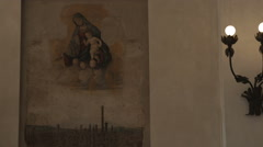 Mural on a church wall in Bologna Italy. Stock Footage