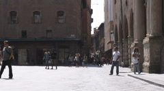 People walking in a courtyard in Bologna Italy. Stock Footage