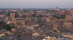 Panning shot over an ancient cityscape in Italy. Stock Footage