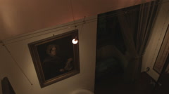 Painting on a wall in an old bedroom in Italy. Stock Footage