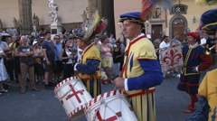 Men playing instruments in a parade in Italy. Stock Footage