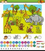 Stock Illustration of calculating animals cartoon game