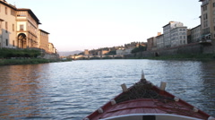 Going down a river on a gondola in Italy. Stock Footage