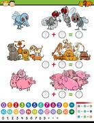 calculate game cartoon illustration - stock illustration
