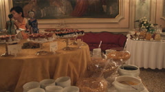 Dolly shot of fancy food on a table. Stock Footage